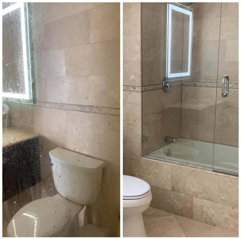 Before After Bathroom Glass Cleaning